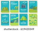 ecology information cards set.... | Shutterstock .eps vector #619420349