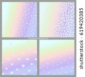 vector set of holographic... | Shutterstock .eps vector #619420385