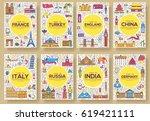 set of thin line travel world... | Shutterstock .eps vector #619421111