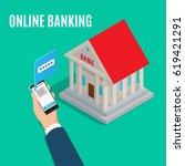 online banking isometric... | Shutterstock .eps vector #619421291