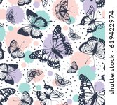 Stock vector vector butterflies pattern abstract seamless background 619422974