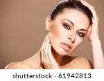 portrait of beautiful woman she ...   Shutterstock . vector #61942813