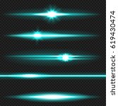 cyan horizontal lens flares...   Shutterstock .eps vector #619430474