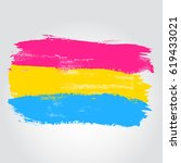 pansexual pride flag in a form... | Shutterstock .eps vector #619433021
