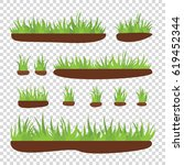 tufts of grass with earth on a... | Shutterstock .eps vector #619452344