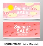 summer sale background with... | Shutterstock .eps vector #619457861