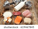 protein  fish  cheese  eggs ... | Shutterstock . vector #619467845