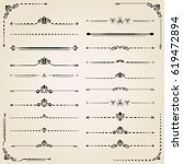vintage set of decorative black ... | Shutterstock . vector #619472894