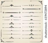 vintage set of decorative black ... | Shutterstock . vector #619472894