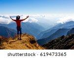 sunny mountains horizon view... | Shutterstock . vector #619473365