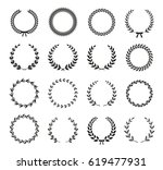 set of black and white... | Shutterstock .eps vector #619477931