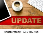 update keyboard  pc and cup of... | Shutterstock . vector #619482755
