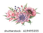hand painted watercolor... | Shutterstock . vector #619495355