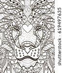 zentangle stylized cartoon head ... | Shutterstock .eps vector #619497635
