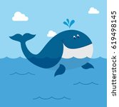 whale in the water   Shutterstock .eps vector #619498145