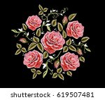 embroidery colorful floral... | Shutterstock .eps vector #619507481