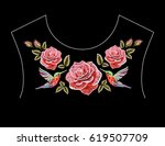 embroidery colorful floral... | Shutterstock .eps vector #619507709