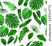 seamless tropical jungle leaves ... | Shutterstock . vector #619514771