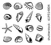 seashells set. vector | Shutterstock .eps vector #619514804