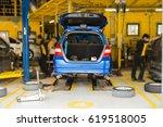 modern car service. back view...   Shutterstock . vector #619518005