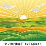 countryside landscape  fields... | Shutterstock .eps vector #619520867