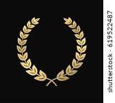 gold laurel wreath. a symbol of ... | Shutterstock .eps vector #619522487