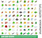 100 zoo icons set in isometric... | Shutterstock .eps vector #619527191