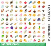 100 chef icons set in isometric ... | Shutterstock .eps vector #619527251