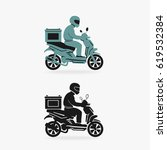 scooter delivery vector symbol   Shutterstock .eps vector #619532384