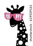 giraffe head isolated on white... | Shutterstock .eps vector #619539161