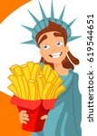 statue of liberty with french... | Shutterstock .eps vector #619544651