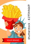 statue of liberty with french... | Shutterstock .eps vector #619544669