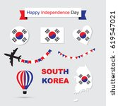 south korea flag and map icons... | Shutterstock .eps vector #619547021