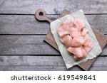 Raw Chicken Meat On Wooden...