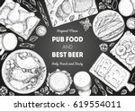 pub food frame vector... | Shutterstock .eps vector #619554011
