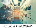 double exposure of  engineer or ... | Shutterstock . vector #619554605