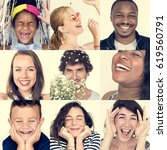 collage of people smiling... | Shutterstock . vector #619560791