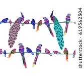 colored birds seamless pattern  ... | Shutterstock .eps vector #619562504