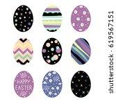 set of easter eggs   Shutterstock .eps vector #619567151