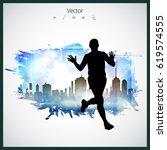 sport. marathon runner  vector | Shutterstock .eps vector #619574555