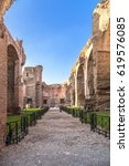 Small photo of ROME, ITALY - NOV 12, 2015: Ruins of the enfilade of the halls of the thermae of the Emperor Caracalla, 217.