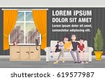 happy cartoon family on sofa in ... | Shutterstock .eps vector #619577987