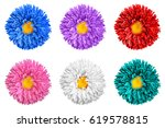 pack of colored aster flowers... | Shutterstock . vector #619578815