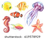 set watercolor sea fish sea... | Shutterstock . vector #619578929