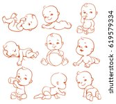 set with cute little baby in... | Shutterstock .eps vector #619579334