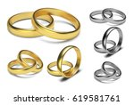 Golden Rings Isolated On White...