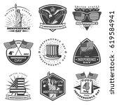 monochrome vintage independence ... | Shutterstock .eps vector #619584941