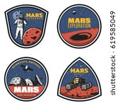 colored vintage mars research... | Shutterstock .eps vector #619585049