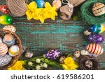 easter eggs in nest on rustic... | Shutterstock . vector #619586201
