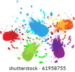 colorful bright ink splashes on ... | Shutterstock .eps vector #61958755